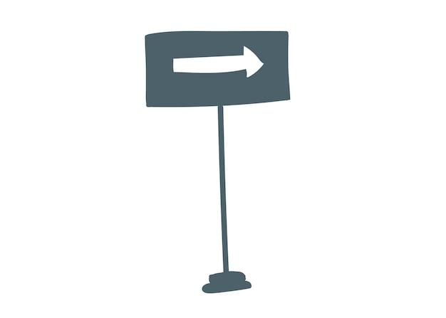 Знак на столбе - белая стрелка вправо, рисующая мультяшную векторную иллюстрацию