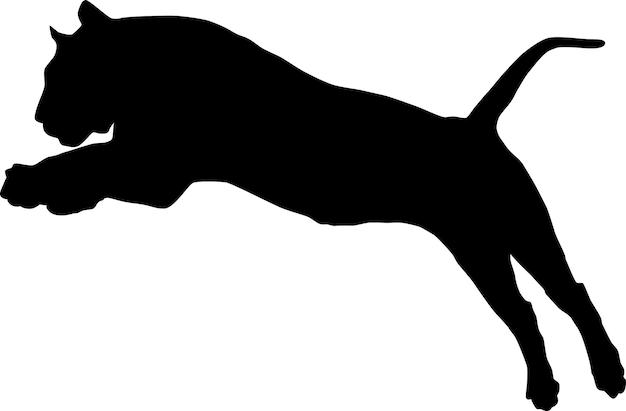 Силуэт прыгающего тигра, изолированного на белом фоне. векторный дизайн значка тигр.