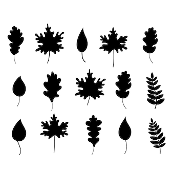 Силуэт черных опавших листьев