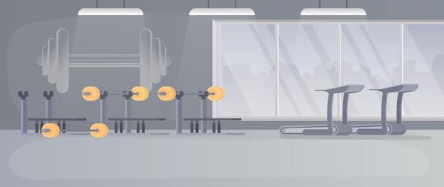 ベンチプレス用のシミュレーター。バーベル。バーベル付きのシミュレーターは、白い背景で隔離されています。ベクター。