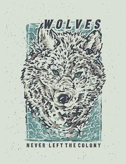 손으로 그리는 그림으로 눈 늑대의 스케치