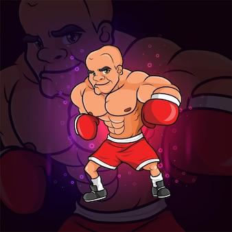 イラストのeスポーツマスコットデザインのボクシングのスキニーヘッド