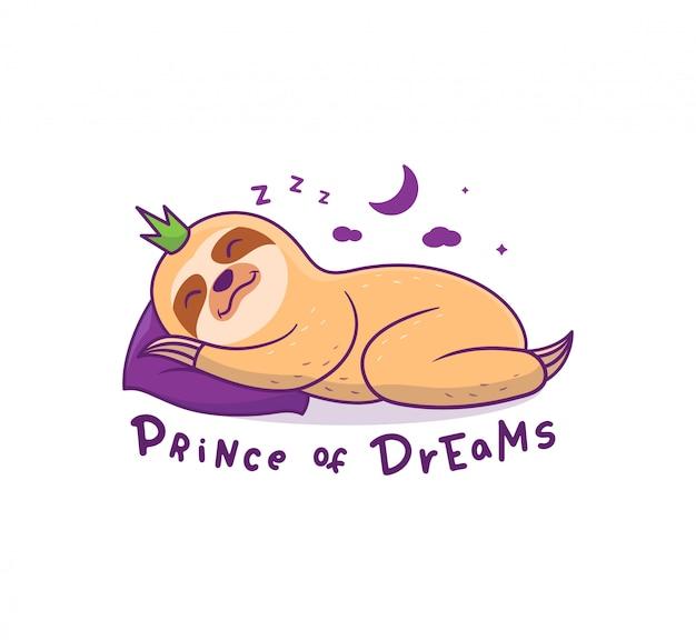 밤에 베개에서 자고있는 왕관의 나무 늘보. 작은 만화 아기