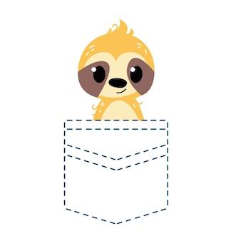 Ленивец смотрит из кармана карман с контуром векторная иллюстрация в мультфильме