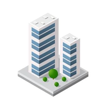 スマートビルディングホームアーキテクチャは、テクノロジービジネス機器フラットスタイルのアイデアです