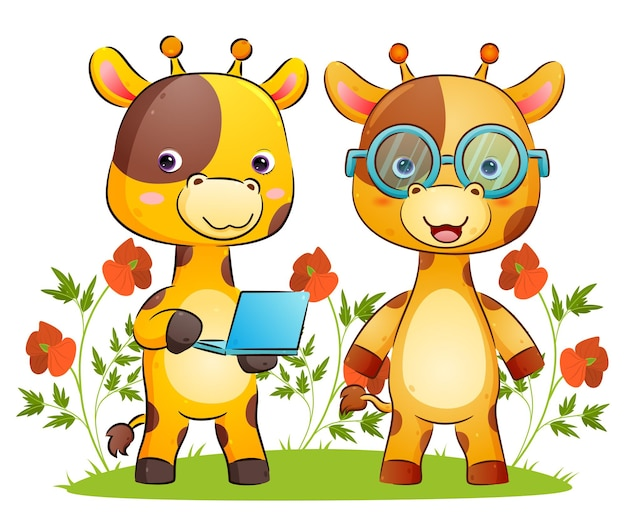 Умная пара жирафов держит ноутбук яркого цвета на иллюстрации парка