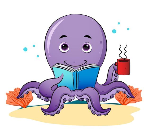 똑똑한 문어가 책을 읽고 삽화의 커피를 즐기고 있다