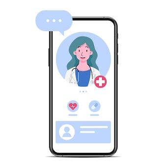 画面に医師または女性セラピストがいるスマートフォンで、チャットやオンライン相談のアドバイスをします。遠隔治療技術の概念における医師によるオンライン医療相談サービス。