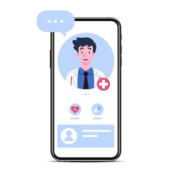 画面に医師または男性セラピストがいるスマートフォンで、チャットやオンライン相談のアドバイスをします。遠隔治療技術の概念における医師によるオンライン医療相談サービス。