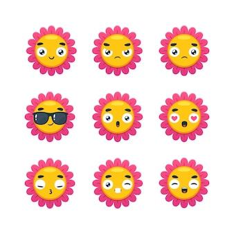 Набор смайлов из розового цветка. отдельные векторные иллюстрации