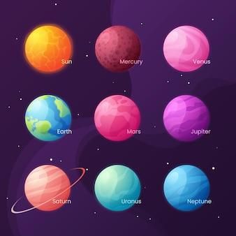 太陽系。太陽と惑星が設定されたカラフルな漫画。
