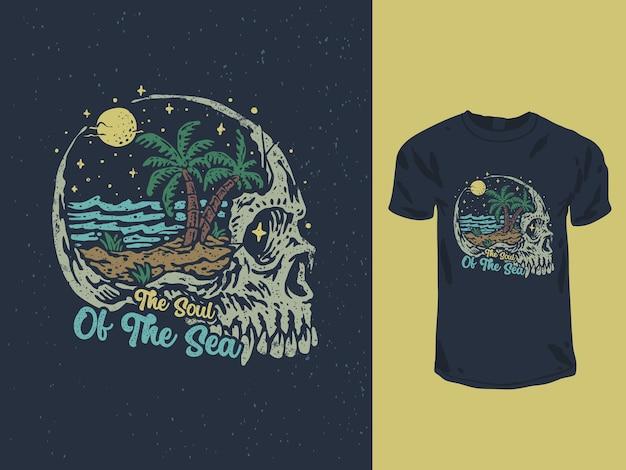 頭蓋骨の頭のtシャツのデザインイラストと海の魂 Premiumベクター