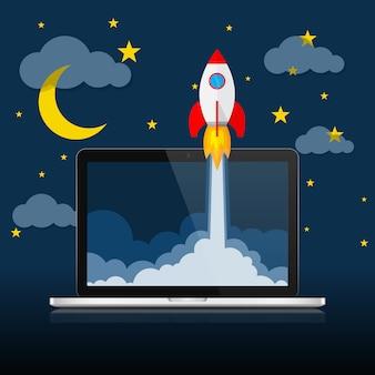 Космический корабль и ноутбук - концепция запуска бизнеса. иллюстрация.