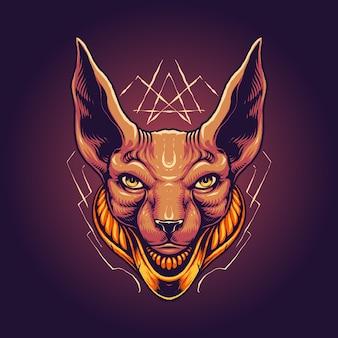 スフィンクス猫の頭のイラスト