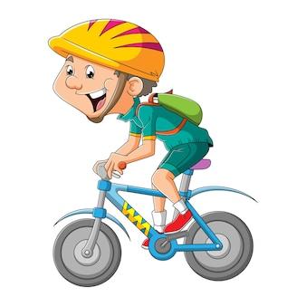 스포티한 소년이 삽화의 자전거를 타고 있다