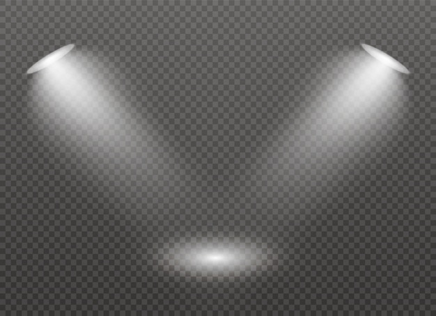 舞台にスポットライトが当たる。ライト専用レンズフラッシュライト効果。ランプまたはスポットライトからの光。照明付きシーン。スポットライトの下で表彰台。