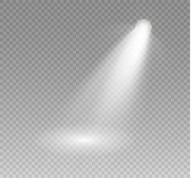 Прожектор сияет на сцене. свет эксклюзивное использование объектива вспышки светового эффекта. свет от лампы или прожектора. освещенная сцена. подиум в центре внимания.