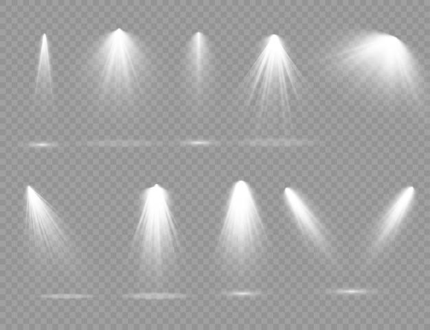 舞台照明専用レンズフラッシュライトエフェクトライトランプやスポットライト下のスポットライトシーン表彰台にスポットライトが当たる Premiumベクター