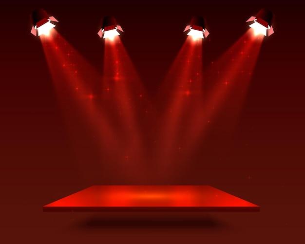 赤い色の正方形の台座