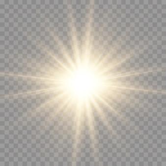 Звезда взорвалась с блеском, сияла яркая звезда, вспыхнул светящийся желтый свет, лучи желтого солнца, эффект золотого света, солнечная вспышка с лучами, векторная иллюстрация, eps 10