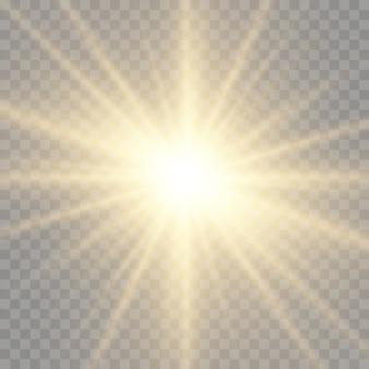 Звезда взорвалась с блеском, сияющая яркая звезда, желтый светящийся всплеск света, желтые солнечные лучи, эффект золотого света, солнечная вспышка с лучами, векторная иллюстрация,