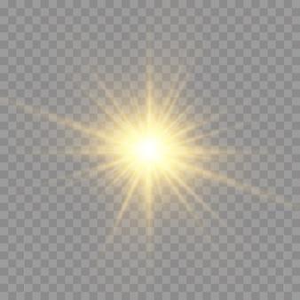 スターバースト、輝き、輝く明るい星、黄色の太陽光線、金色の光の効果
