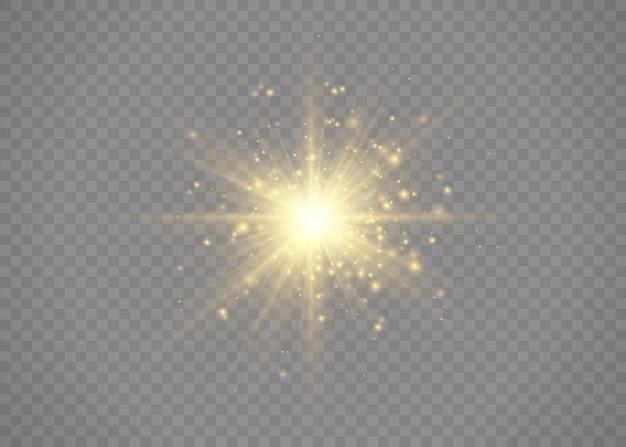 별이 광채로 터졌습니다. 노란색 빛나는 조명 스타. 광선 및 스포트 라이트와 함께 태양의 섬광. 투명 배경에 고립 된 특수 효과입니다.