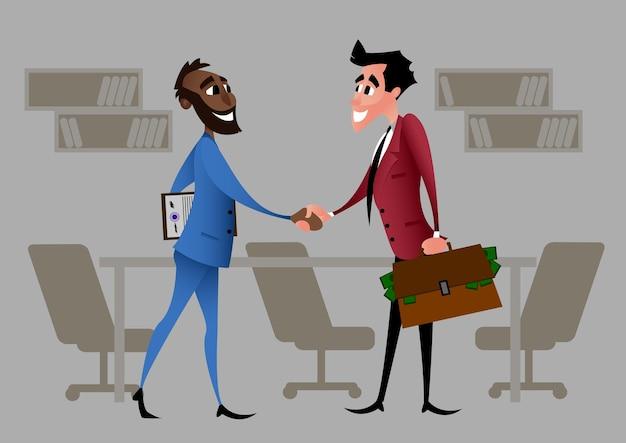 起業家のパートナーシップの始まり。漫画のキャラクター。パートナーは、契約締結契約に署名した後、しっかりと握手を交わします。フラットスタイルのベクトル図は、オフィスの背景に分離されました。
