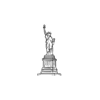 자유의 여신상 손으로 그린 개요 낙서 아이콘. 랜드마크, 관광 및 자유, 독립 개념. 인쇄, 웹, 모바일 및 흰색 배경에 인포 그래픽에 대한 벡터 스케치 그림.