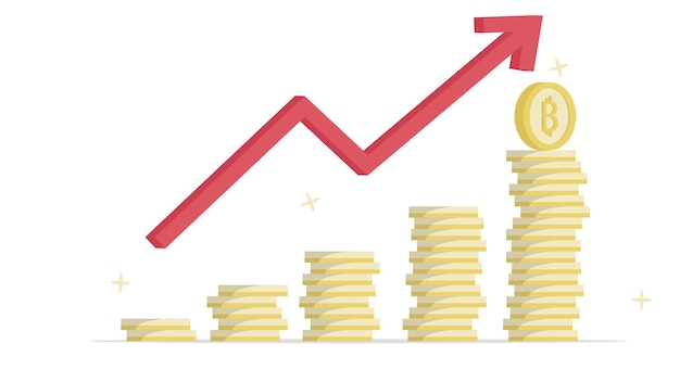 上昇する成長価格の高騰における暗号通貨ビットコインゴールデンタワーのステップ。