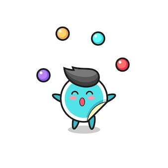 공을 저글링하는 스티커 서커스 만화, 티셔츠, 스티커, 로고 요소를 위한 귀여운 스타일 디자인