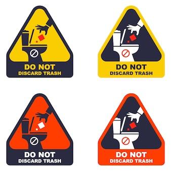 스티커는 쓰레기를 변기에 버리지 않습니다. 화장실에 대한 경고 표시 세트입니다. 평면 벡터 일러스트 레이 션.