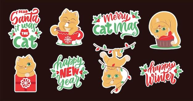 Наклейки зимних животных с цитатами про счастливых праздников кошки для новогодних дизайнов