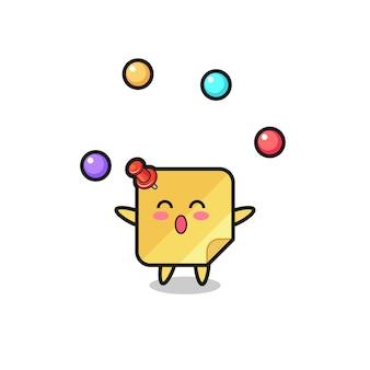 공을 저글링하는 스티커 메모 서커스 만화, 티셔츠, 스티커, 로고 요소를 위한 귀여운 스타일 디자인