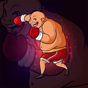 イラストの強いボクシング選手eスポーツロゴデザイン