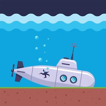 Подводная лодка разбилась и теряет воздух через дыру в прошивке корабля. плоская морская иллюстрация.