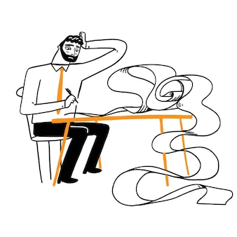 Отстойный мужчина пишет длинный рулон бумаги. векторная иллюстрация