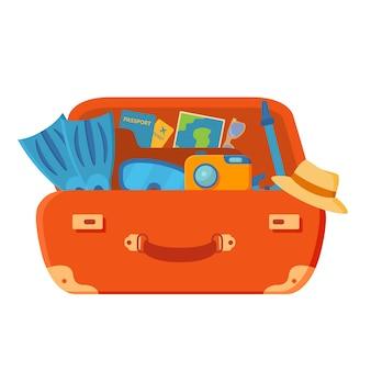 Чемодан открыт. ласты, фотоаппарат, очки, паспорт, авиабилеты, пальмы и морские звезды. летние каникулы.