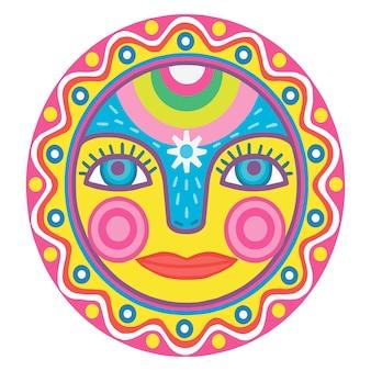 太陽は装飾品で飾られています。春とカーニバルのシンボル。熱の饗宴。漫画スタイルの楽しみ