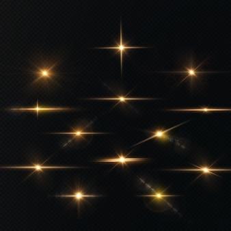 太陽はリアルなまぶしさで明るい光線を輝かせていますライトスターゴールドクリスマス