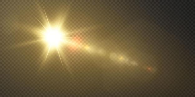 太陽はリアルなまぶしさで明るい光線を照らしています
