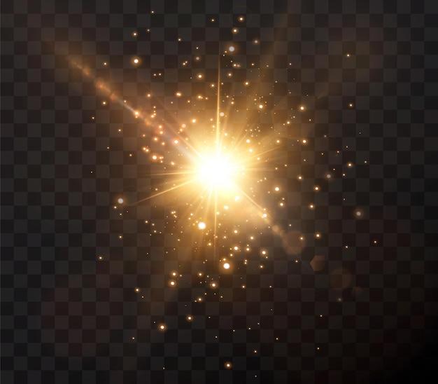 Солнце светит яркими световыми лучами с реалистичными бликами