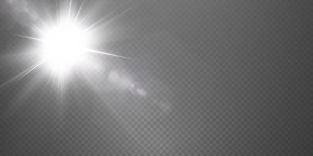태양은 사실적인 눈부심으로 밝은 광선을 비추고 있습니다.