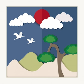 태양, 나무 및 크레인 커플. 음력 설날 (설날) 종이 아트 스타일 배경 번역 : 설날, 새해 복 많이 받으세요