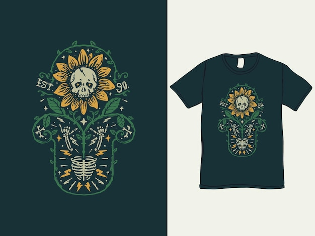 해바라기 해골 빈티지 스타일의 티셔츠 디자인