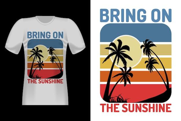 야자수 실루엣 빈티지 레트로 티셔츠 디자인의 햇살