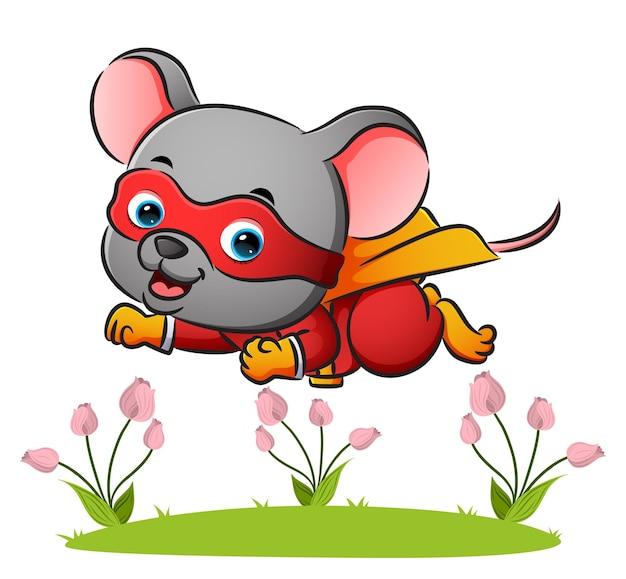 슈퍼히어로 마우스가 삽화의 좋은 의상을 입고 날고 있다