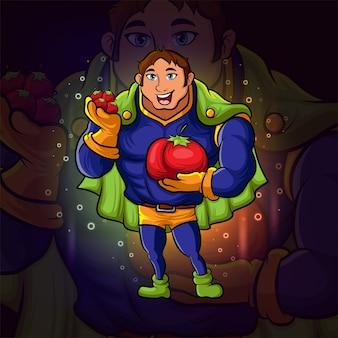 イラストのトマトeスポーツロゴデザインのスーパーヒーロー