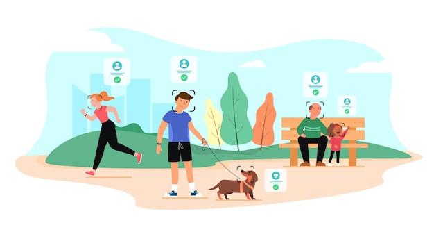 監視カメラは、公園内の人や動物の顔を認識します。顔認識の概念です。
