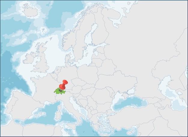 ヨーロッパ地図上のスイス連邦の場所